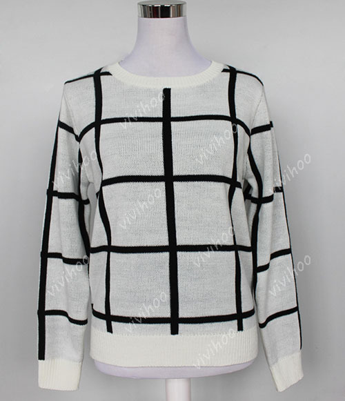 Hot Fashion Women Vintage Loose Black And White Checkered Sweater