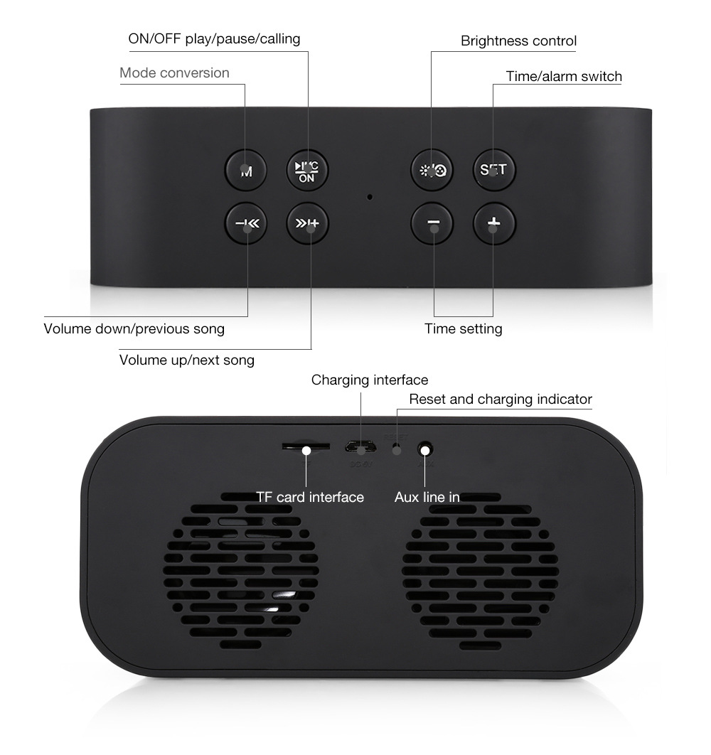 Portable Bluetooth Speaker Super Bass Wireless Stereo Speakers Support TF AUX Mirror Alarm Clock for Phone Computer in Portable Speakers from Consumer Electronics