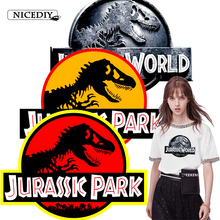 Nicediy Jurassic Park Heat Transfers Dinosaur On Patches For Clothes T-shirt Thermal Transfer Stickers Wholesale Accessories DIY