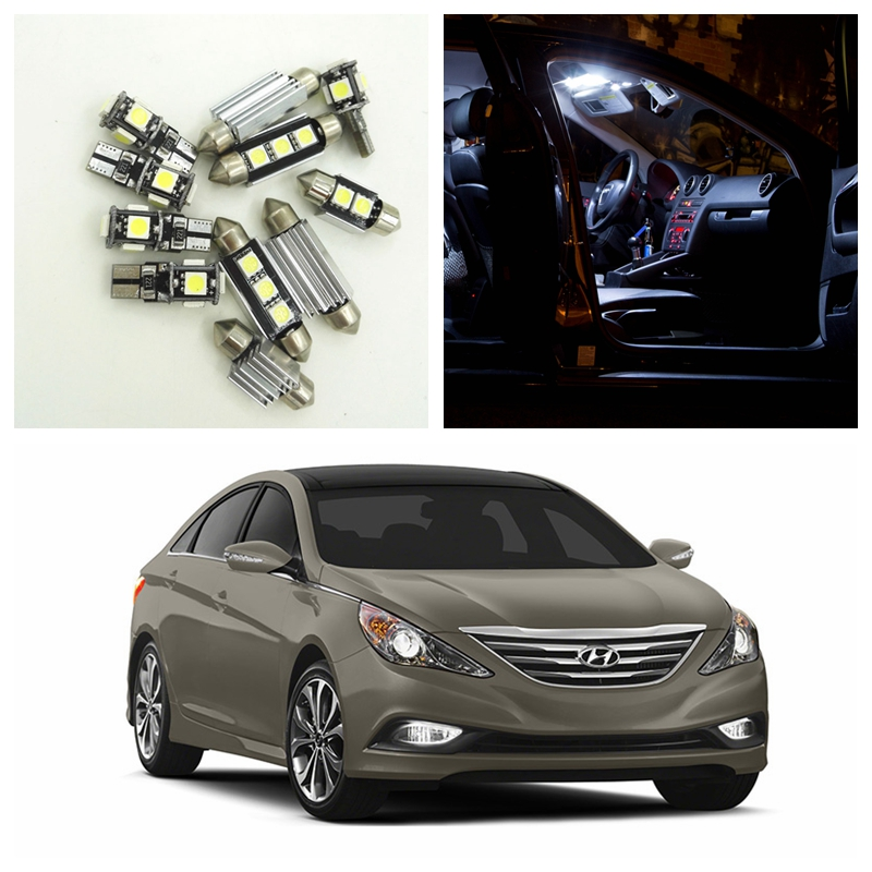 9pcs White Car LED Light Bulbs Interior Package Kit For 2011 2012 2013 2014 Hyundai Sonata Map Dome Trunk License Plate Lamp yatour for 12pin vw audi skoda seat quadlock yt m06 car usb mp3 sd aux adapter digital cd changer interface