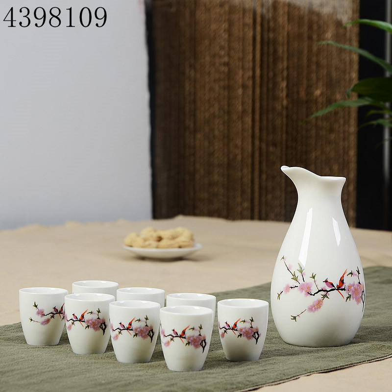 Chinese hand-painted ceramic wine set / 1 hip flask + 8 sake cup handmade Chinese hip flask ceramic sake cup set image