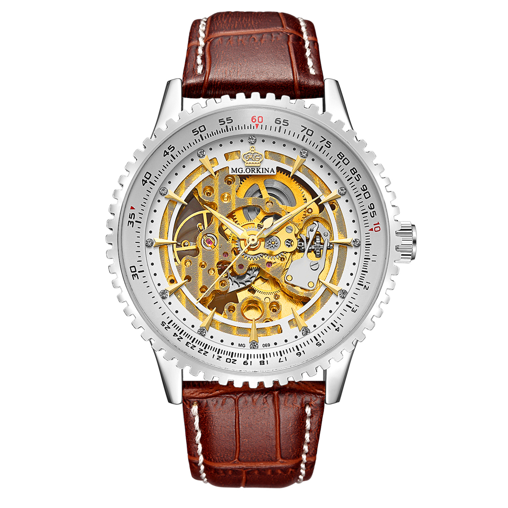 Luxury Brand ORKINA Watches Men Stylish Leather Strap Fashion Automatic Watches Skeleton Mechanical Watch orkina luxury brand men skeleton mechanical wrist watch leather strap male semi automatic watches christmas gift for men box
