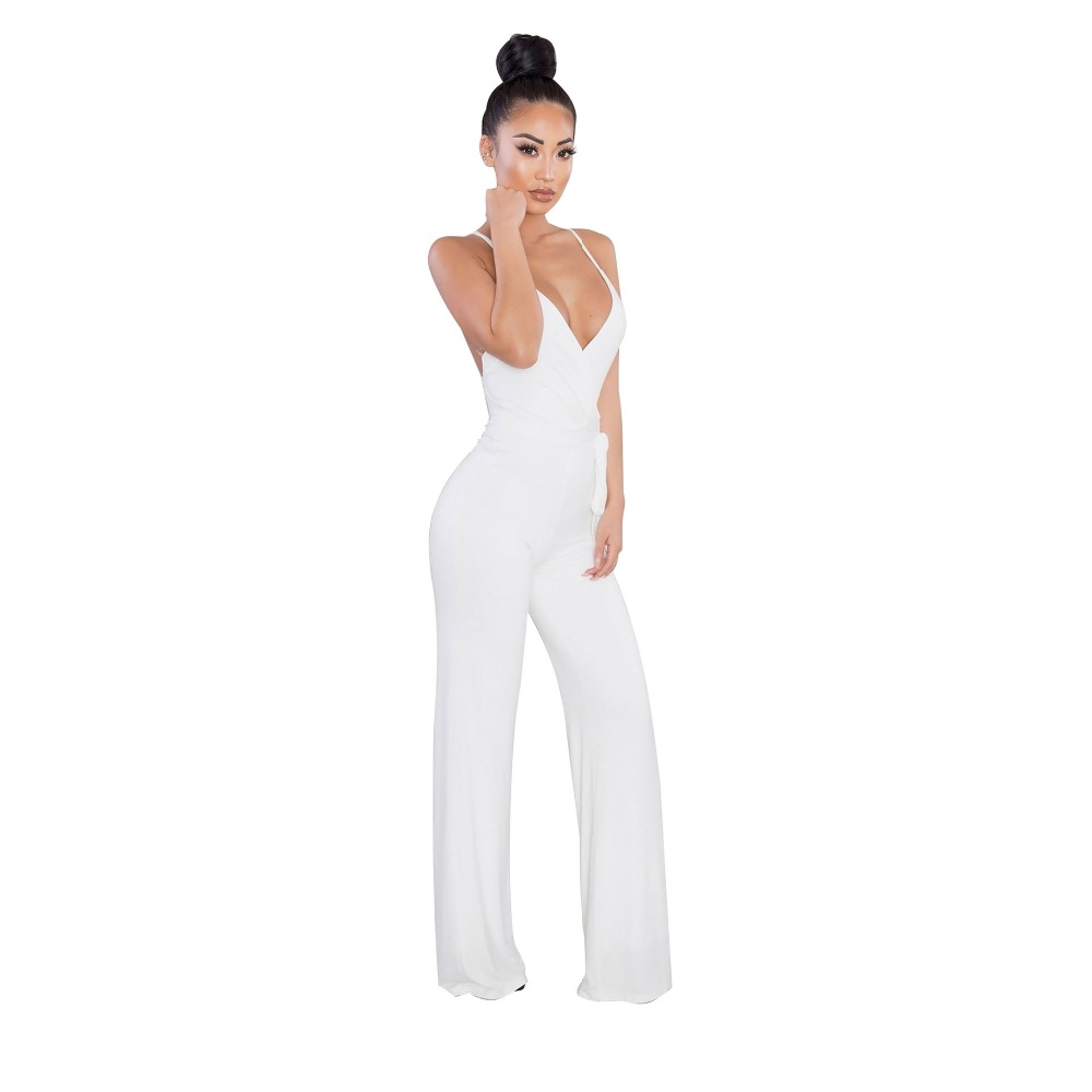 08587615d44 Amazon Hot Jumpsuits Sexy V Neck Solid Women Jumpsuits Strap Flare Women  Rompers-in Jumpsuits from Women s Clothing on Aliexpress.com