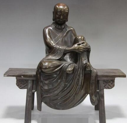 006956 Tibet Buddhism Classic Copper Bronze Kshitigarbha Arhat Sit Bench Buddha Statue