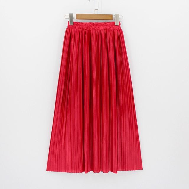 2018 ผู้หญิงใหม่แฟชั่น Elastic Plus ขนาดยาวกระโปรงสูงเอว Maxi กระโปรง Saia Bling Metallic ผ้าไหมเกาหลี Tutu กระโปรง