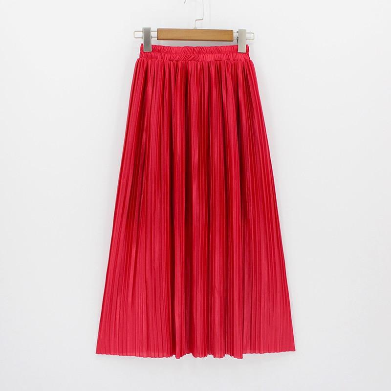 2018 New Women Fashion Elastic Plus Size Long Skirts High Waist Pleated Maxi Skirt Saia Bling Metallic Silk Korean Tutu Skirt