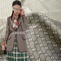 1M High fashion double G yarn dyed jacquard monogram fabric spring and autumn skirt suit jacket brocade fashion fabric