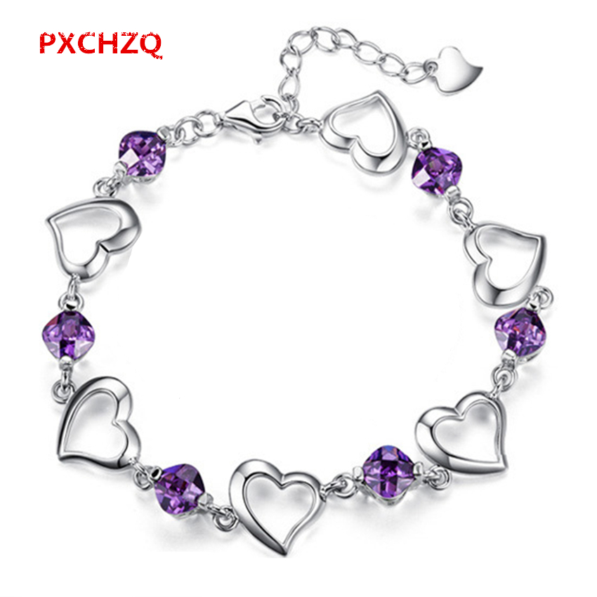 Pxchzq Female Models Simple Fashion Silver Jewelry Natural Purple