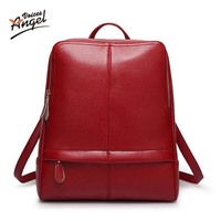 2017 Luxury Brand Summer Real Oil Wax Cowhide Backpacks Women Girl Female Genuine Leather Backpack Real Leather Woman Tote Bag