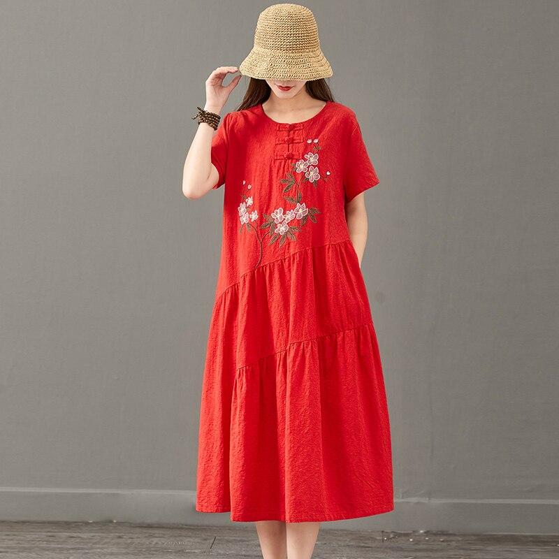 Été nouveau vintage broderie longue robe femmes rouge coton lin o-cou à manches courtes robe florale vêtements pour femmes
