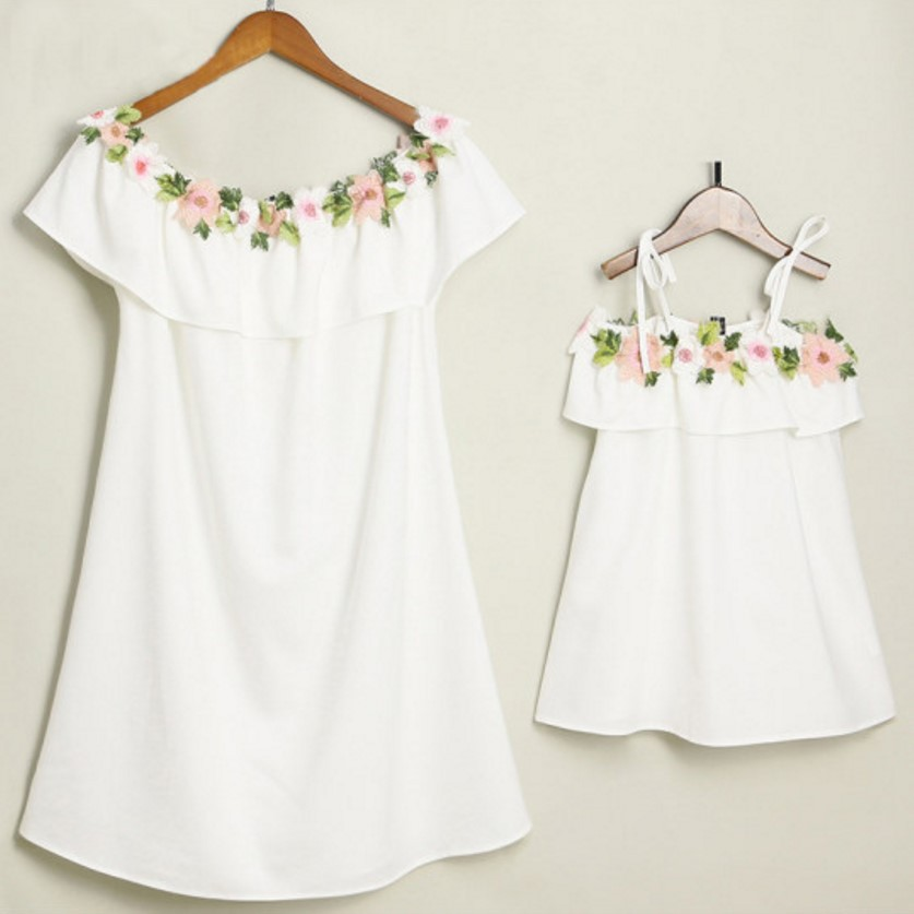adsfay.com Embroidery-Mother-Daughter-Dresses-Mommy-and-Me-Clothes-Family-look-Matching-Outfits-Mom-and-Daughter-Clothe