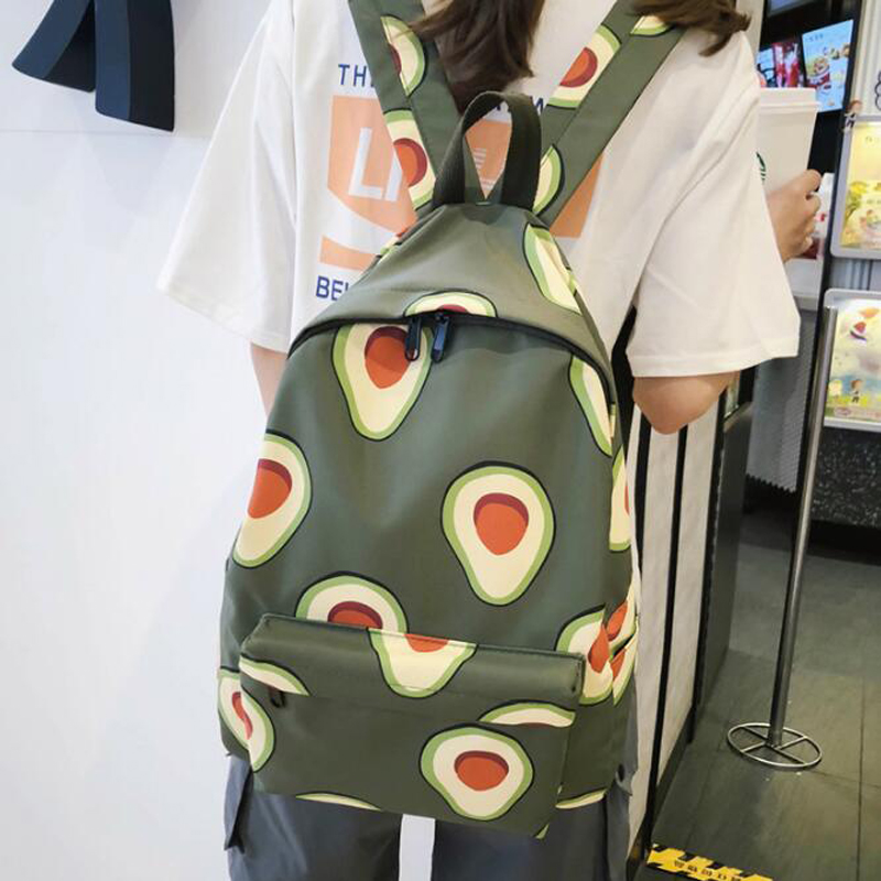 50pcs/lot Avocado Green Backpack Women  New Student Fashion School Bag Travel Backpack Portable Leisure Campus Bag Mochila