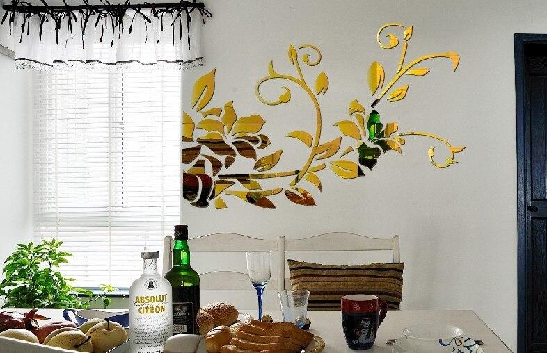 Livraison gratuite TV fond décoratif mur miroir autocollant, 3D miroir autocollant, acrylique mur miroir autocollant - 3