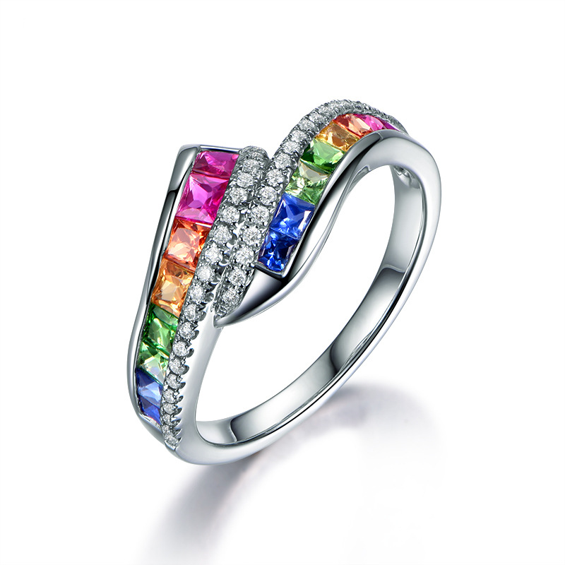 Womens Sterling Silver Ring Elegant Color Stone Rainbow Wedding Ring Fashion Jewelry Promise Love Engagement Rings Anec in Wedding Bands from Jewelry Accessories