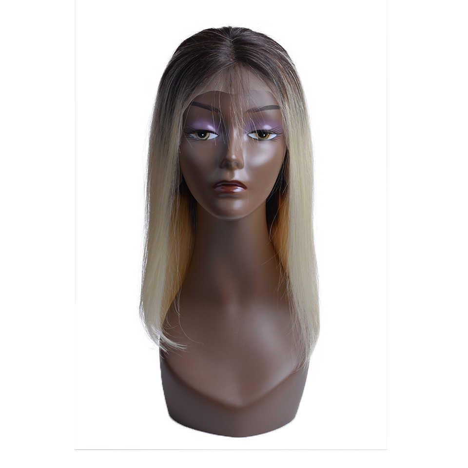 1B блондинка Синтетические волосы на кружеве парик с эффектом деграде (переход от темного к бразильские прямые волосы парик человеческих волос эффектом деграде (переход от темного к 613 Синтетические волосы на кружеве человеческих волос парики для чернокожих Для женщин средняя часть