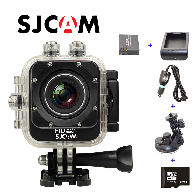 Free Shipping!32GB+Original SJCAM M10 WiFi Full HD Sport Action Camera+Extra 1pcs battery+Battery Charger+Car Charger+Car Holder free shipping original sj4000 wifi full hd sport action camera car charger holder extra 1pcs battery battery charger for dv cam