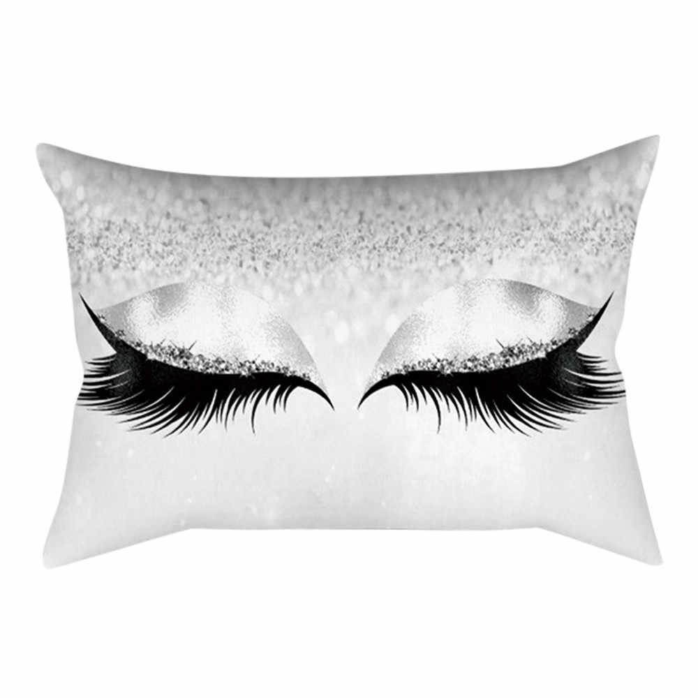 1 pc クッションカバー装飾枕カーベッドソファまつげソフトベルベットクッションカバー枕 30 × 50 センチメートル大理石枕ケース