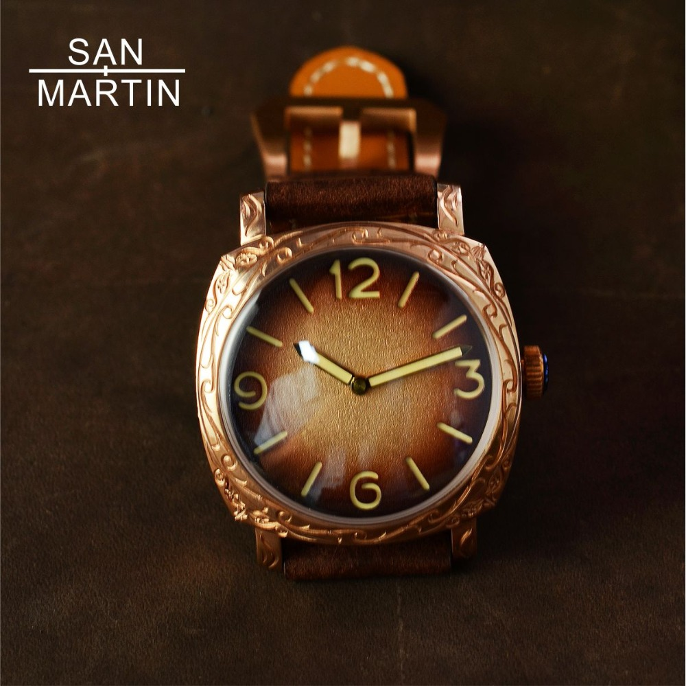 San Martin New Men Automatic Watch Vintage Bronze Carved Watch 100m Water Resistant Retro Wristwatch Limited Edition Watch 42MM