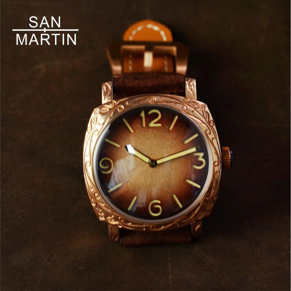 San Martin nouveaux hommes montre automatique Vintage Bronze sculpté montre 100 m résistant à l'eau rétro montre-bracelet édition limitée montre 42 MM