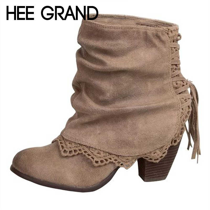 HEE GRAND Fringe Sexy Women Ankle Boots Casual Platform Shoes Woman High Heels Western Boots Slip On Winter Women Shoes XWX7134