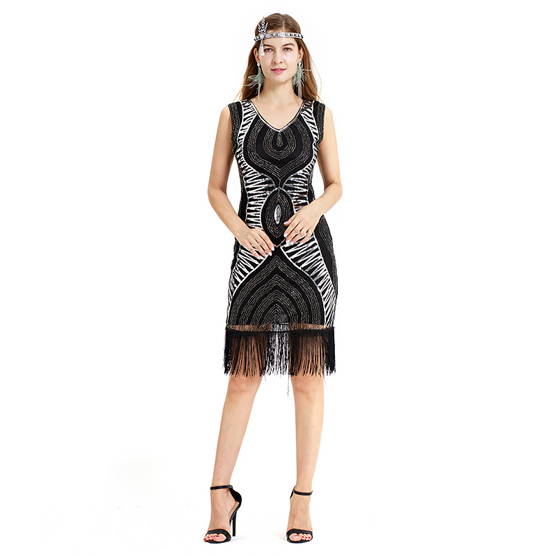 US $29.16 10% OFF|Sequins Latin Dance Dress Great Gatsby Dress 1920s  Flapper Dresses Plus Size Sleevless Fringe Tassel Charleston Dresses-in  Latin ...