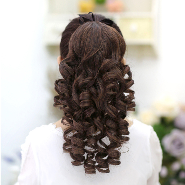 SHANGKE Short Curly Ponytails Clip In Fake Hair Extensions Natual Clip In Hair Tails Heat Resistant Synthetic Ponytail 2