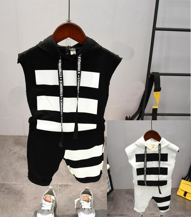 Summer baby Boys Clothing Sets boys Hooded T-shirt + shorts pants 2Pcs Suits Children Clothing Sets Toddler Brand Tracks 2-7yea