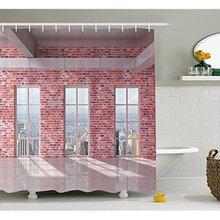 Vixm Modern Decor Shower Curtain Red Brick Wall Loft