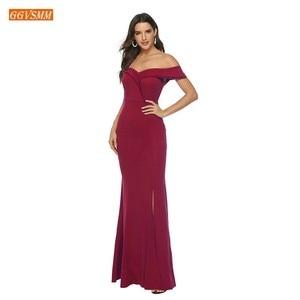 Image 3 - אופנה בורגונדי בת ים שושבינה שמלות ארוך 2020 זול מסיבת חתונת שמלות אלסטי סאטן לקיר אורך תחרות נשים שמלה