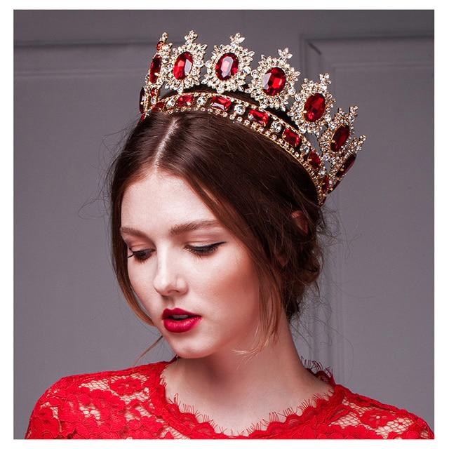 2016 hot big european royal crown golden rhinestone imitation ruby tiara super large quinceanera crown wedding hair accessories