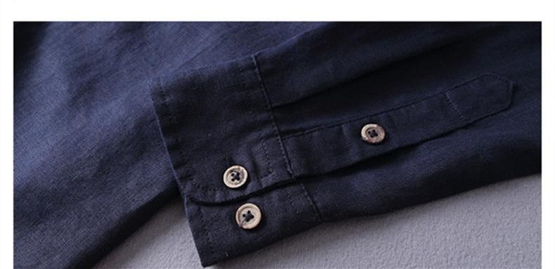 Italien stil 100% linned skjorte mænd langærmet afslappet mænd - Herretøj - Foto 4