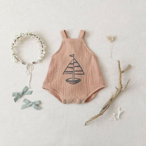 Newborn Baby Girl Boy Sailboat Romper Bodysuit Jumpsuit Outfit Clothes Summer in Bodysuits from Mother Kids