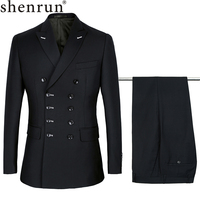 Shenrun Men Suits Slim Fit New Fashion Suit Double Breasted Peak Lapel Navy Blue Black Wedding Groom Party Prom Skinny Costume