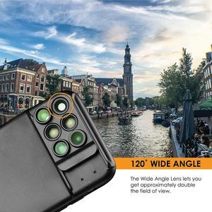 Image 5 - 새로운 iphone xs max 듀얼 카메라 렌즈 6 in 1 fisheye 와이드 앵글 매크로 렌즈 iphone xs xr xs max 망원경 줌 렌즈