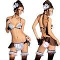 ST018 Womens Sexy Lingerie acessórios de cabeça + bras + aventais + t-calças, loops de perna empregada lingerie erótica trajes sexy sexy conjunto de roupa interior