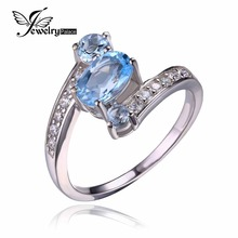 JewelryPalace 2.4ct Oval Pure Sky Blue Topaz Ring Stable 925 Sterling Silver Rings For Ladies Charms Style Marriage ceremony Jewellery