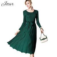 High Quality Elegant Winter Dress 2017 Office Dresses For Women Backless O Neck Solid Plus Size