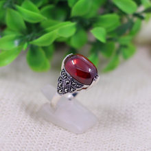 Silver jewelry wholesale] S925 six color.it Garnet Ring Opening(China)