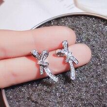 Fashion Earrings for Women 2019 Statement Silver 925 Stud Earrings Jewelry Geometric Wedding Party Brincos Bijoux Girl