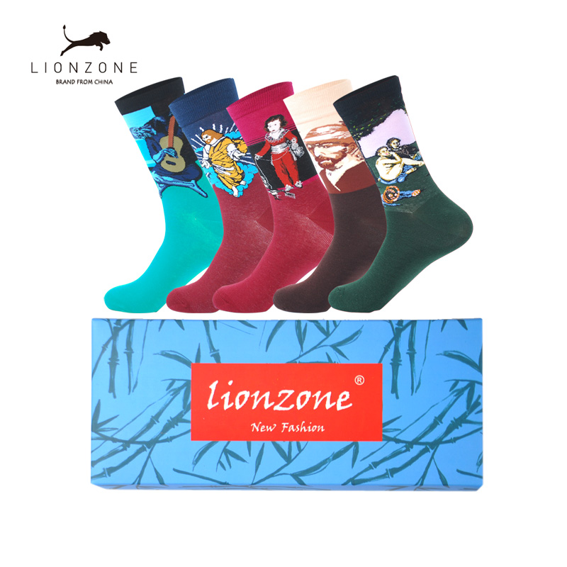 LIONZONE 5 pairs/lot Mens Casual Combed Cotton Socks Napoleon Jesus Oil Painting Crew Socks Colorful Funny Winter Happy Socks