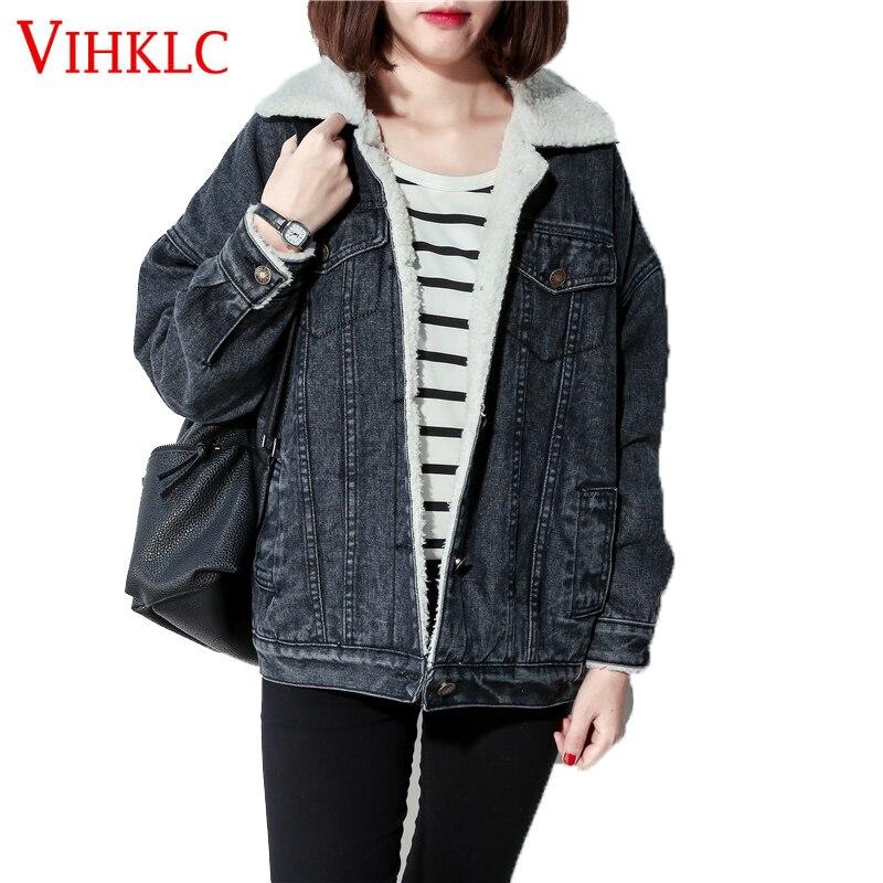 Winter Fur Denim Jacket Women Bomber Jacket Blue Black