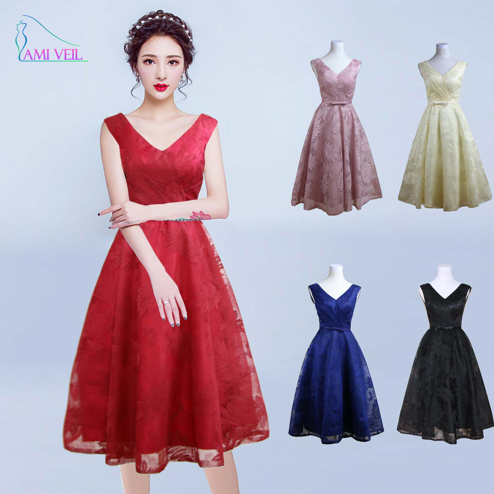 Online Get Cheap Short Red V Neck Prom Dress -Aliexpress.com ...