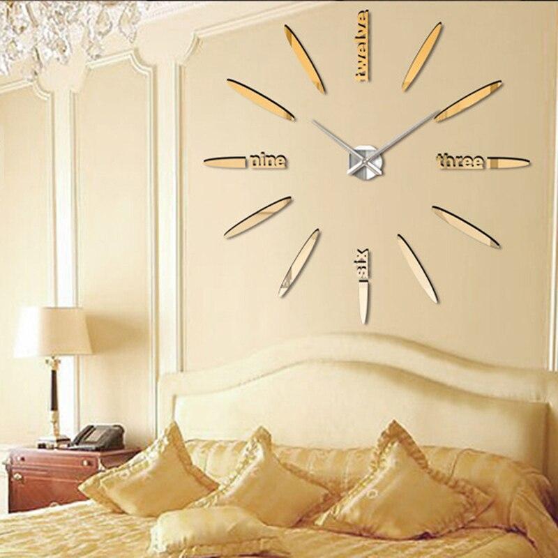 Quartz DIY Modern Clocks Needle Acrylic Watches Big Wall Clock Mirror  Sticker Living Room Decor