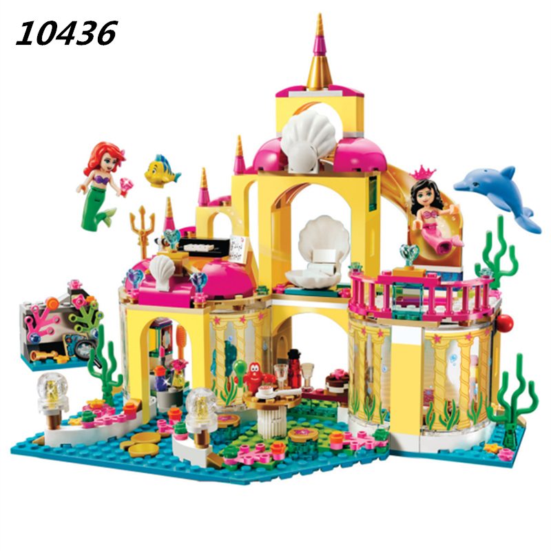 AIBOULLY 10436 Princess Undersea Palace Model Building Kits minis Blocks Bricks Girl Toy Gift Compatible With Friends 41063 aiboully friends series city park ferris wheel model building block girl toys kids gifts bricks minis compatible with