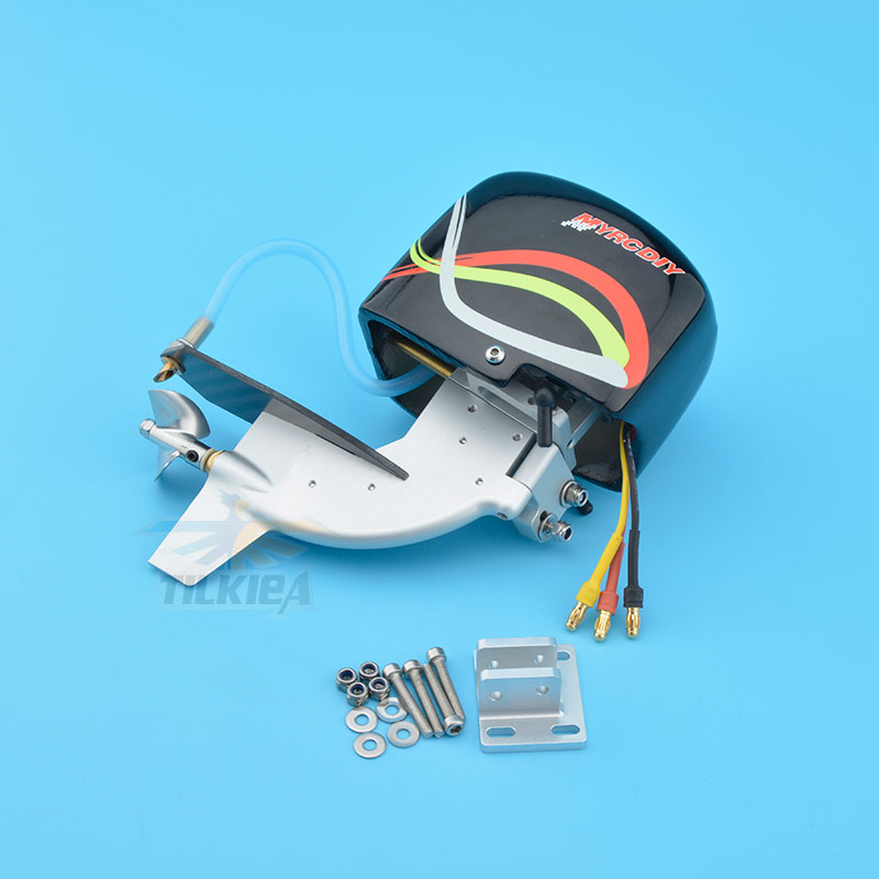 """Image 3 - CNC Rc Boat Tail Power Head Outboard Brushless Motor Prop Watercool Mount Steering Function For Electric Boat Length 24"""" to 30""""Parts & Accessories   -"""