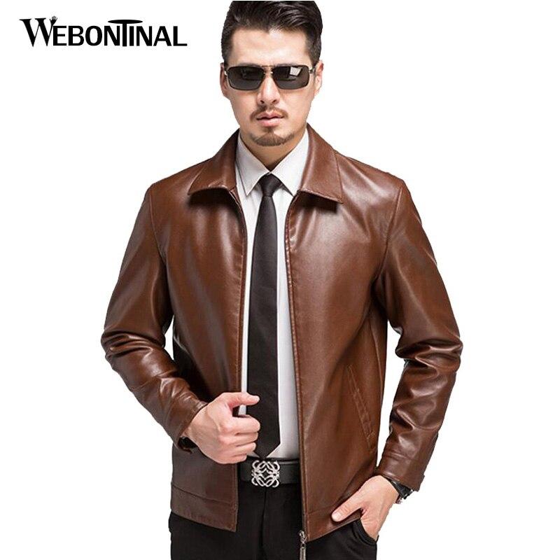 Enwayel 2018 Herbst Vintage Herren Jacken Mantel Motorrad Pu Männlichen Leder Jacke Männer Mantel Outwear Beiläufige Braun Farbe Ew128