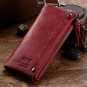 Image 1 - Fashion Wallet Women Wallet Female Purse Genuine Leather Design Female Purse Money Handbag Case Phone Pocket Carteira Feminina