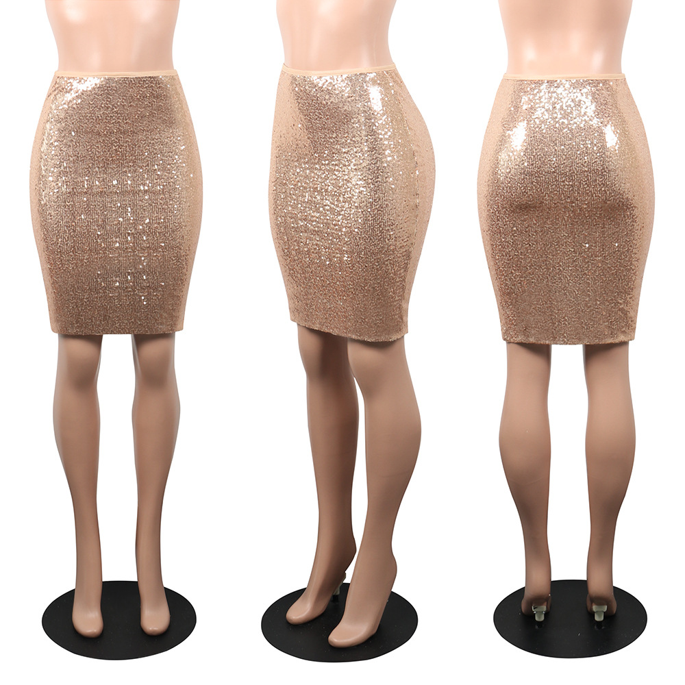 Ladies Sequin High Waisted Split Bodycon Jersey Midi Pencil Stretch Skirt Party