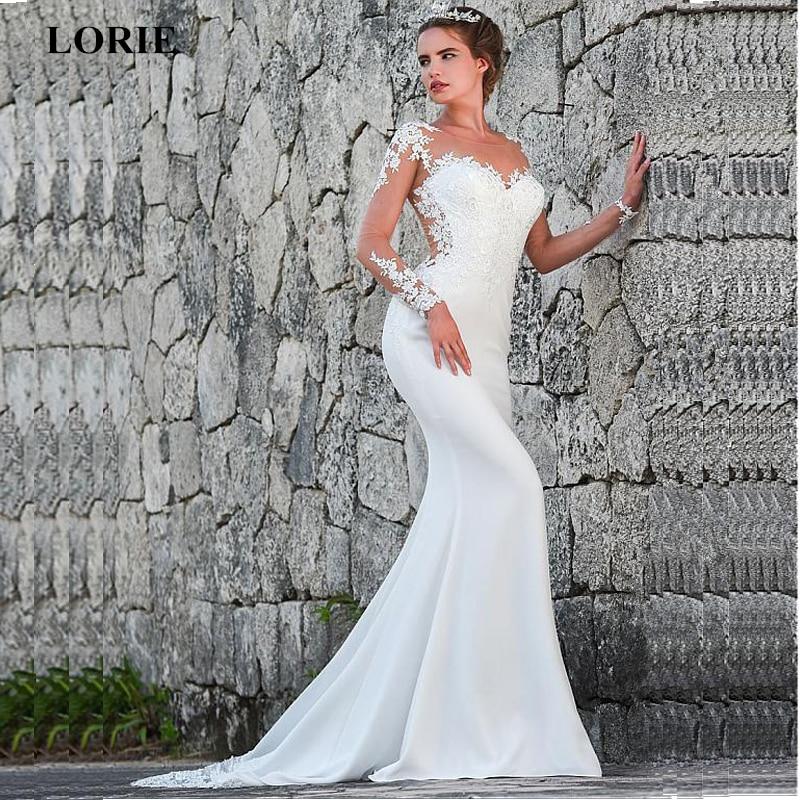 LORIE 2019 Mermaid Wedding Dresses Turkey Appliques Lace Custom Made Bridal Dress Wedding Long sleeve Gown