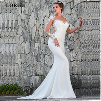 LORIE 2019 Mermaid Wedding Dresses Turkey Appliques Lace Custom Made Bridal Dress Wedding Long sleeve Gown vestidos de noiva